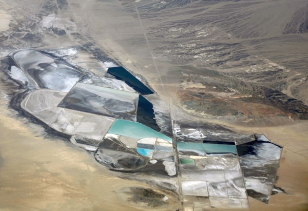 An aerial photo shows the expansive Chemetall-Foote lithium mining operation in Esmeralda County. (Courtesy)