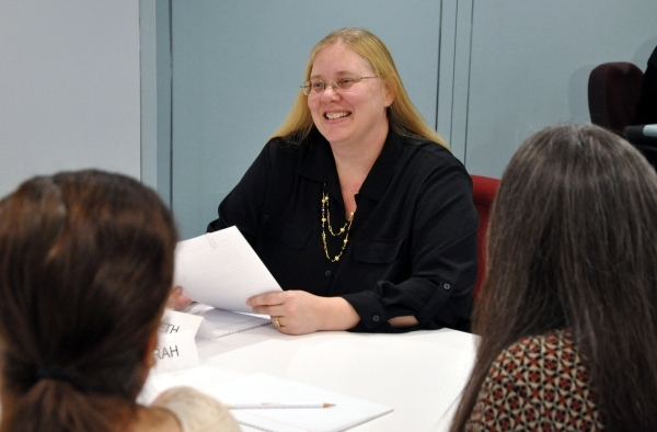Elizabeth Couturier, vice president of client relations and moderator of focus groups at Las Vegas Field and Focus, readies her team for a focus group at the firm's offices. (Photo by Joe Co ...