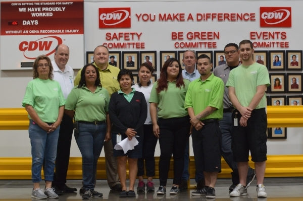 At CDW, sustainability is a team effort. Members of the team are, front row from left, Dorothy Odenthal, Susan Bido, Sara Segura, Mitzi Gonzalez, Sergio Barrera and David Moore. Back row, from lef ...