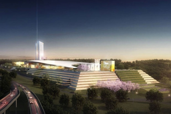 In this artist's rendering, the proposed MGM National Harbor is seen from the adjoining highway that rings Washington, D.C.  MGM Resorts International hopes to open the resort and casino lat ...