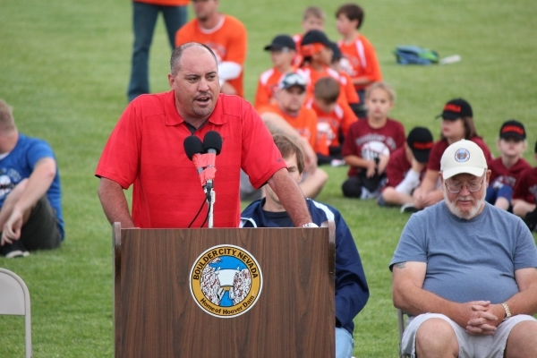 New UNLV football coach Tony Sanchez talks up the program during an appearance at the Boulder City Little League. COURTESY UNLV