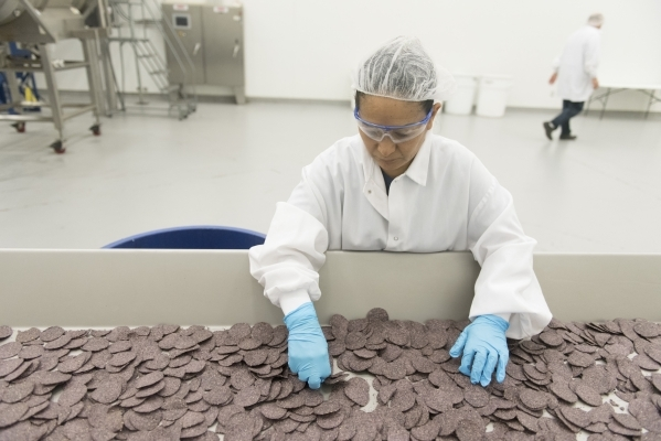 MaDel Colorado inspects and removes broken and misshapen chips from the batch at the RW Garcia plant at 4780 N. Lamb Blvd. in Las Vegas Wednesday Sept. 2, 2015. (Jason Ogulnik/Las Vegas Review-Jou ...