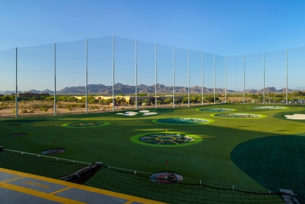 Target holes dot the landscape at Topgolf's Scottsdale location. (Courtesy Topgolf. Photography by Michael Baxter, Baxter Imaging LLC)  Undate 2015