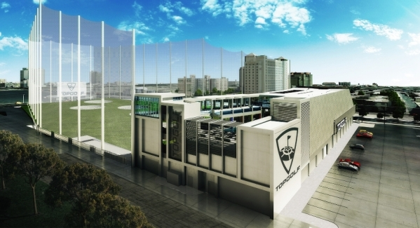 An artist's rendering shows Topgolf's flagship Las Vegas site. The location at Koval Lane and Harmon Avenue is scheduled to open in May 2016. (Courtesy, Topgolf)