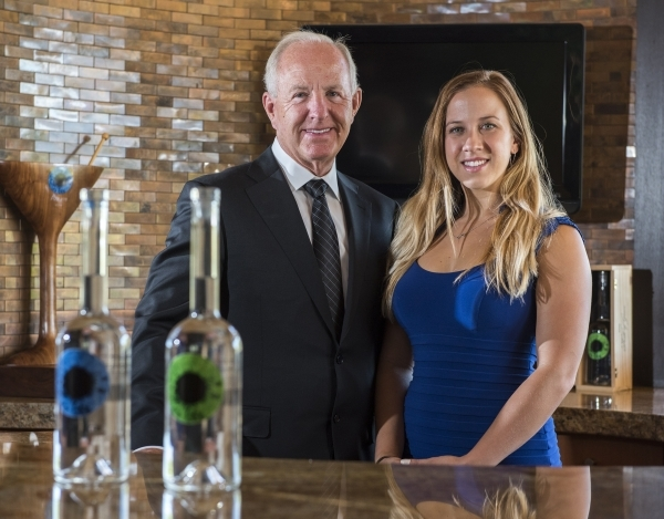 Father and daughter owners of Azzurre Spirits, Dan and Angela Pettit, pose at their home in Las Vegas on Wednesday, Sept. 2, 2015. Martin S. Fuentes/Las Vegas Review-Journal