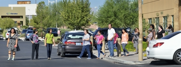 Billing department employees from HealthCare Partners Nevada set out on a walk during a break from the office at 650 White Drive on Wednesday, Sept. 9, 2015. Bill Hughes/Las Vegas Review-Journal