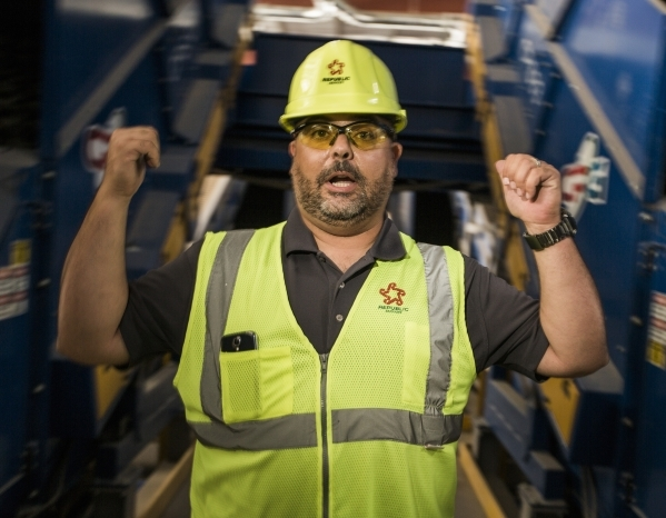 Len Christopher, general manager of Republic Services gives a tour of  the Southern Nevada Recycling Complex, 333 West Gowan Road, North Las Vegas, on Tuesday, Sept.15, 2015. Republic Services&lsq ...