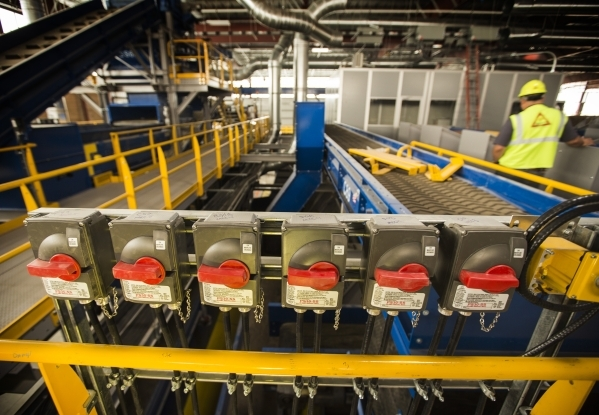 Stop switches is seen  at the Southern Nevada Recycling Complex, 333 West Gowan Road, North Las Vegas, on Tuesday, Sept.15, 2015. Republic Services' new 110,000-square-foot North Las Vegas r ...