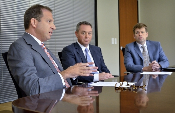 Todd Sklamberg, CEO of Sunrise and Sunrise Children's Hospitals, left, Chris Mowan, CEO of Mountain View Hospital, center, and Adam Rudd, CEO of Southern Hills Hospital, are shown during an  ...