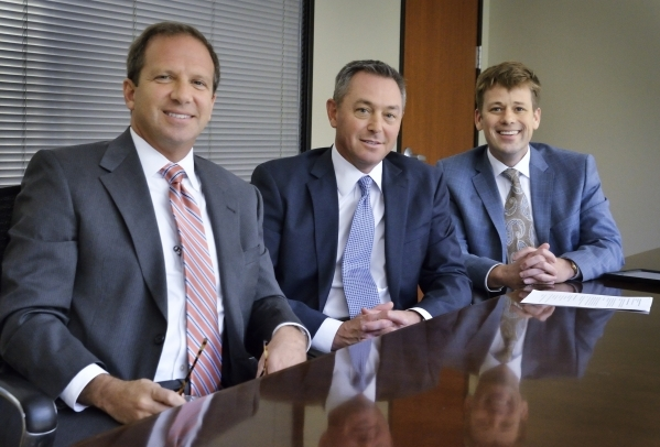 Todd Sklamberg, CEO of Sunrise and Sunrise Children'­s Hospitals, left, Chris Mowan, CEO of Mountain View Hospital, center, and Adam Rudd, CEO of Southern Hills Hospital, are shown at the H ...