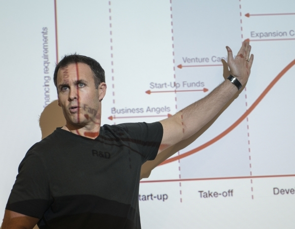 Ian McNeil, business consultant, speaks during a meeting of  UNLV's Rebel Venture Fund at the Lee Business School on Friday, Sept. 25, 2015.  The Rebel Venture Fund provides experiential lea ...