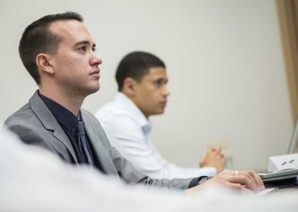 Roddrick Reed listens during a meeting of  UNLV's Rebel Venture Fund at the Lee Business School on Friday, Sept. 25, 2015.  The Rebel Venture Fund provides experiential learning opportunitie ...