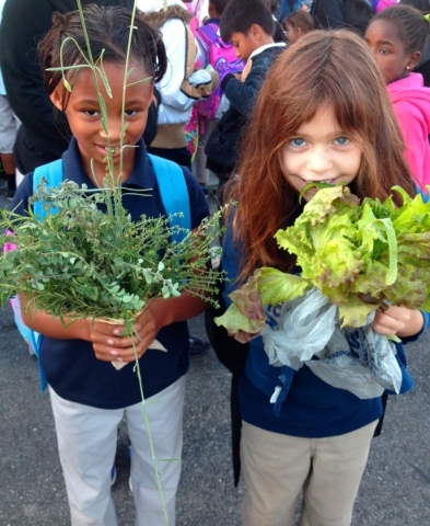 Pupils at John S. Park Elementary School offer produce for sale during a farmer's market. (Courtesy)   November 2014