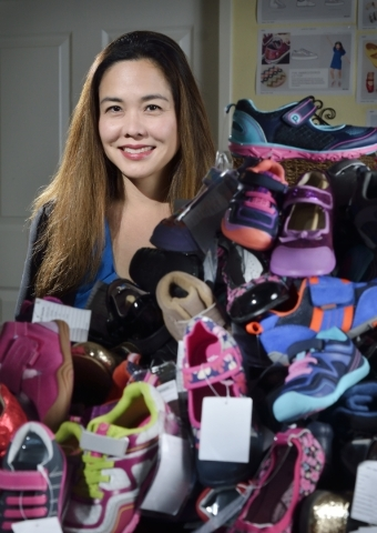 Angela Edgeworth, founder and president of Pediped Footwear, is shown at company headquarters at 1191 Center Point Drive in Henderson on Thursday, Oct. 8, 2015. (Bill Hughes/Las Vegas Review-Journal)