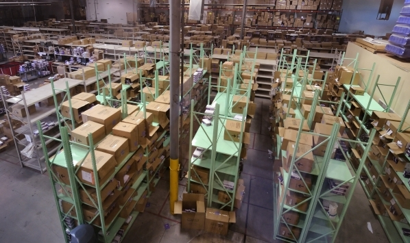 Part of the warehouse is shown at Pediped Footwear at 1191 Center Point Drive in Henderson on Thursday, Oct. 8, 2015. (Bill Hughes/Las Vegas Review-Journal)