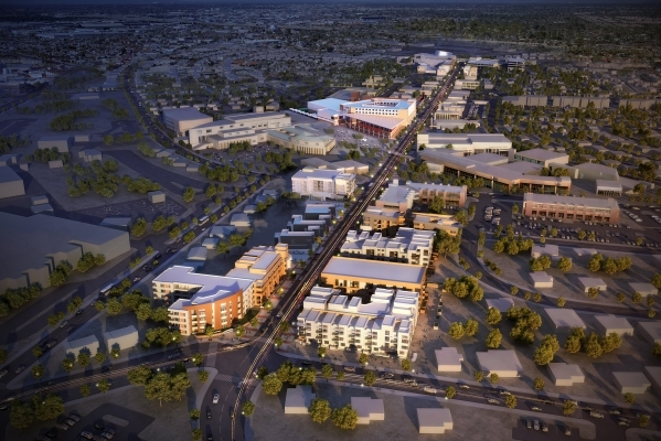 A rendering shows the possible look of Water Street after redevelopment efforts in Henderson. (Courtesy of Tate Snyder Kimsey)  October 2015