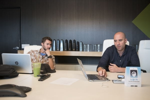 ItsOnMe CEO David Leibner, right, and Brand Manager Zack Berglind are interviewed at ItsOnMe's office in Las Vegas Thursday, Oct. 15, 2015. Jason Ogulnik/Las Vegas Review-Journal