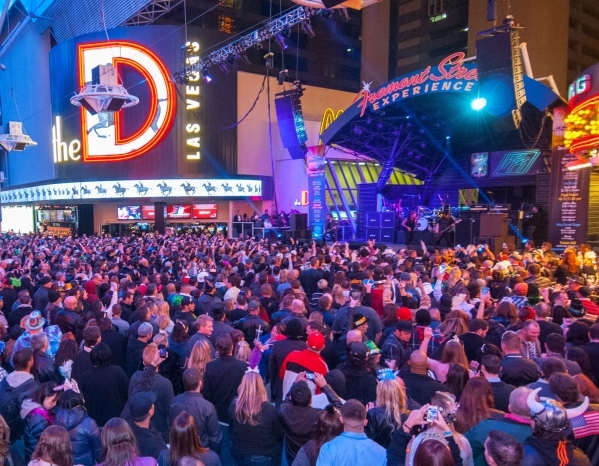 Crowds of revelers enjoy the Fremont Street Experience on New Year's Eve. (Courtesy Fremont Street Experience)