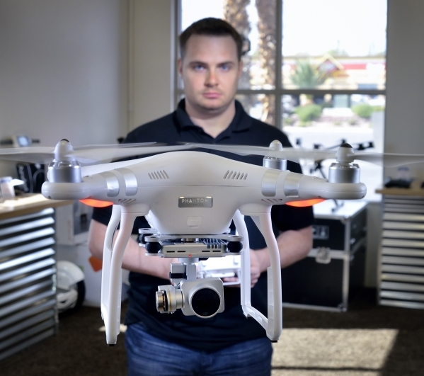 Mike Thorpe, co-owner of Drones Plus, is shown flying a Phantom drone in his store at 5010 S. Decatur Blvd. in Las Vegas on Wednesday, Oct. 21, 2015. Bill Hughes/Las Vegas Review-Journal