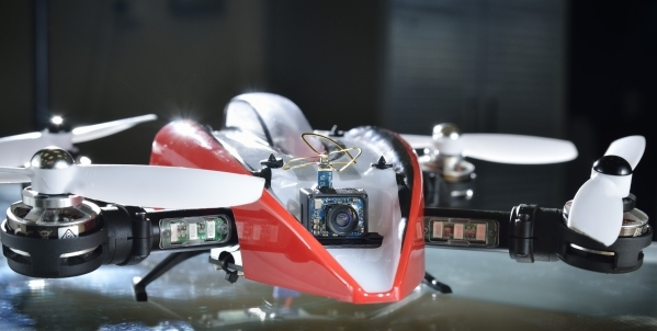 The Blade Mach 25 racing drone with a camera is shown at Drones Plus at 5010 S. Decatur Blvd. in Las Vegas on Wednesday, Oct. 21, 2015. Bill Hughes/Las Vegas Review-Journal