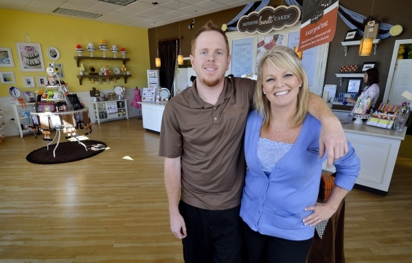 Sean Tripp and his mother Dena are shown at Nothing Bundt Cakes at 8320 W. Sahara Ave. in Las Vegas on Friday, Oct. 23, 2015. Sean is an operating partner and store manager and Dena is co-founder  ...