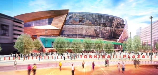 An artist's rendering shows the plaza entrance to the arena. (Courtesy, MGM Resorts)  October 2015