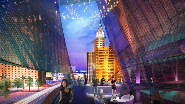 An artist's rendering shows one of the arena's exterior lounge areas. (Courtesy, MGM Resorts)  October 2015