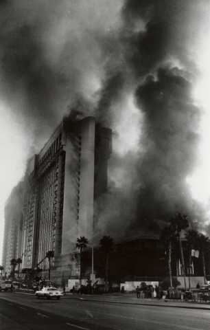 Smoke billows from the massive MGM Grand hotel the morning of Nov. 21, 1980, from a fireball that raced across the casino floor. A total of 87 people died in the nation's second-worst hotel  ...