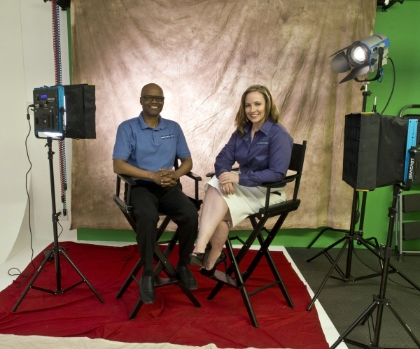 Greg Chambers and Jennifer Walsh pose for a photo in their studio in Las Vegas, Thursday, Nov. 5, 2015. The two own and operate Screen Content Management, a company that provides custom digital co ...