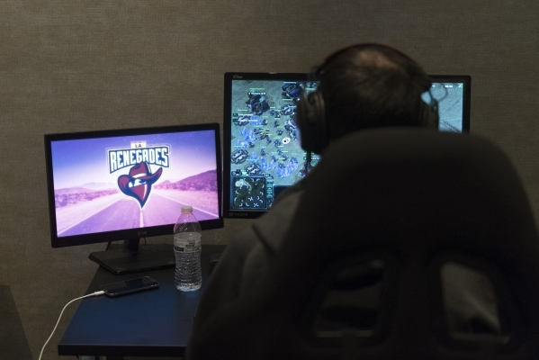 LA Renegades member Yaman Ergenekon plays Counter-Strike:Global Offensive in the team's practice room at Downtown Grand Hotel & Casino in Las Vegas Monday, Nov. 9, 2015. Jason Ogulnik/La ...