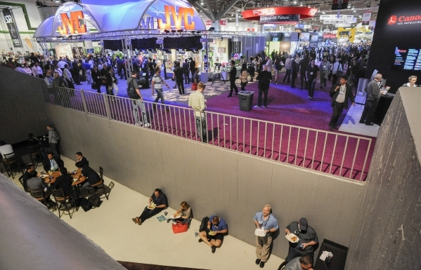 Various scenes of crowding, space usage, gathering spots in and around the Las Vegas Convention Center during the National Association of Broadcasters Show on Monday and Tuesday, April 13 and 14,  ...