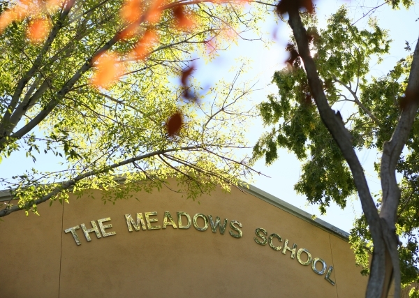 The Meadows School entrance is shown Thursday, Nov. 12, 2015, in Las Vegas. The Meadows School is a college preparatory, nonprofit, nonsectarian school that caters to students grades PreK-12 and i ...