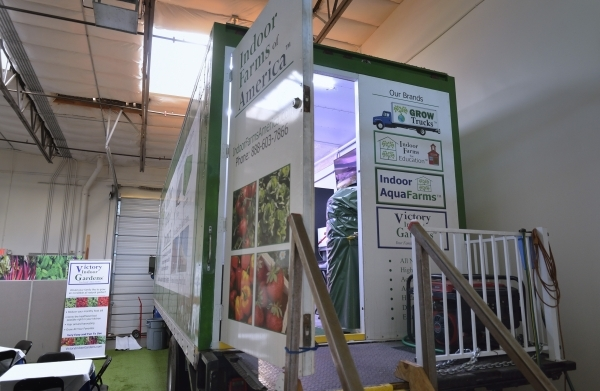 The exterior of a truck containing a portable aeroponic farm is shown at Indoor Farms of America at 4020 Ali Baba Lane in Las Vegas on Monday, Nov. 30, 2015. Aeroponics uses a mist to deliver wate ...