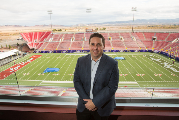 John Saccenti, executive director of the Royal Purple Las Vegas Bowl, poses at Sam Boyd Stadium on Wednesday, Dec. 17, 2014. (Samantha Clemens-Kerbs/Las Vegas Review-Journal)