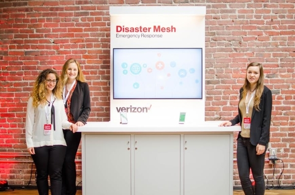 A team of three teen entrepreneurs who developed an idea for emergency communications won $250,000 in an innovation competition sponsored by  Verizon. Left to right are  Karla Dana, a student at S ...