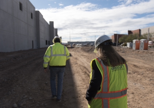 Christina Parker, development manager with Panattoni Development, right, and Charlie Rushing, superintendent with Alston Construction, give a tour of Panattoni Development's industrial proje ...