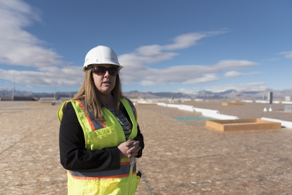 Christina Parker, development manager with Panattoni Development, gives a tour of Panattoni Development's industrial project site at the intersection of West Sunset Road and South Jones Boul ...