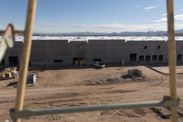 Construction at Panattoni Development's industrial project site at the intersection of West Sunset Road and South Jones Boulevard in Las Vegas is shown Friday, Jan. 8, 2016. Jason Ogulnik/La ...
