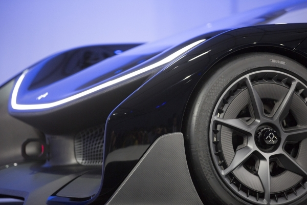 The front end of the Faraday Future FFZero1 prototype is seen during the unveiling event at the Las Vegas Village Lot, 3901 Las Vegas Blvd. South on Monday, Jan. 4, 2016 . Faraday is scheduled to  ...