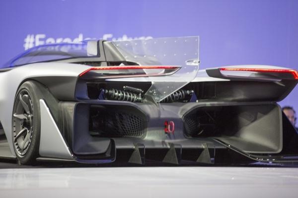 The rear end of the Faraday Future FFZero1 prototype is seen during the unveiling event at the Las Vegas Village Lot, 3901 Las Vegas Blvd. South on Monday, Jan. 4, 2016. Faraday is scheduled to bu ...