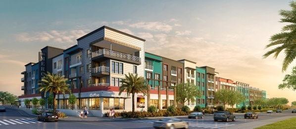 A rendering shows The Mercer, a planned 175-unit luxury apartment complex at Tropicana Avenue and Grand Canyon Drive that broke ground on Jan. 15. The four-story project will feature one and two b ...