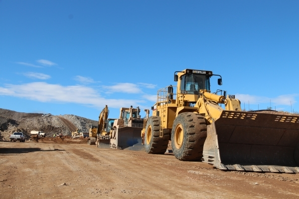 Road building equipment is lined up for work on I-11. Upgrading the highway from Las Vegas to Phoenix has been designated a high-priority project. (Courtesy)