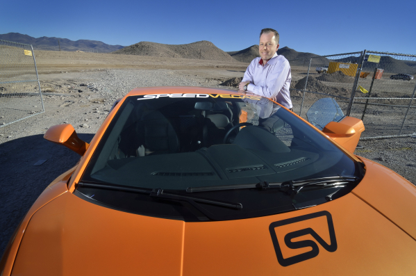 Aaron Fessler, co-founder and CEO of SpeedVegas, is shown with a Lamborghini LP 550 at the construction site for the speedway grounds about two miles south of the M Resort on Las Vegas Blvd. South ...