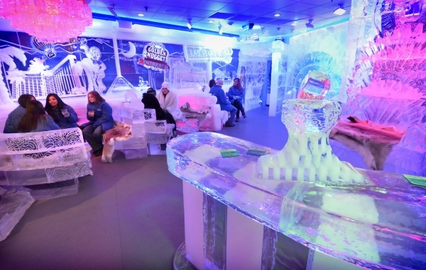 Patrons mingle in the Minus5 Ice Bar in The Shoppes at Mandalay Place at 3930 Las Vegas Blvd. S. on Friday, Feb. 5, 2016. Bill Hughes/Las Vegas Review-Journal