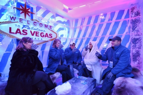 Heather Price, left, has a drink with, from left, Julie and Jeff Cable and Stephanie and Don Simpson in one of the rooms at the Minus5 Ice Bar in The Shoppes at Mandalay Place at 3930 Las Vegas Bl ...