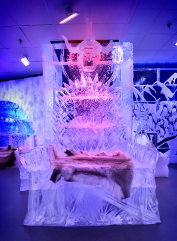 A throne is part of the interior decor for the Minus5 Ice Bar in The Shoppes at Mandalay Place at 3930 Las Vegas Blvd. S. on Friday, Feb. 5, 2016. Bill Hughes/Las Vegas Review-Journal