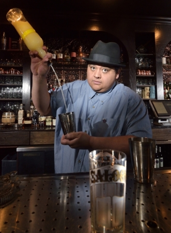 Nectaly Mendoza, owner of Herbs and Rye, mixes a Ramos Gin Fizz at his bar and restaurant at 3713 W. Sahara Ave. in Las Vegas on Wednesday, Feb. 10, 2016. Bill Hughes/Las Vegas Review-Journal