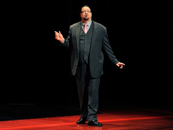 Penn Jillette of the comedy/magic team Penn & Teller, speaks during his performance at the Rio hotel-casino on Monday, Aug. 18, 2014. Penn & Teller have been entertaining audiences at the  ...