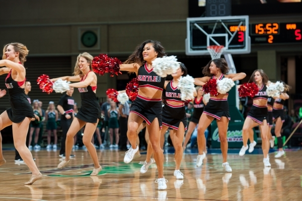 Cheerleaders from Seattle University entertain fans during the WAC basketball championships in Las Vegas. (Courtesy)