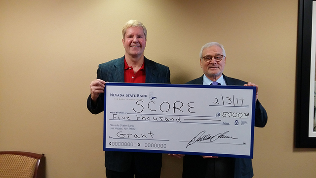 From left, Drew Zidzik, senior vice president, CRA manager for Nevada State Bank and Sam Schaul, volunteer for the Las Vegas Chapter of Score. (Courtesy)